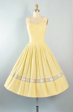 Vintage 50s Dress / 1950s Yellow GINGHAM Cotton by GeronimoVintage