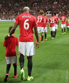 Pogba walking out for Manchester United FC...
