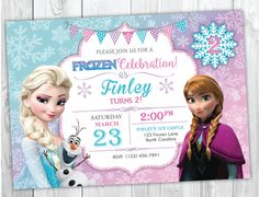 Frozen Birthday Invitation Printable, Frozen Birthday Party Invites, Elsa and Anna Birthday, Olaf Birthday