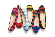 Striped Ballet Flats - New Gameday Gear - Southernliving. Put your best foot forward on game-day with a spirited pair of striped flats.  Buy It: $48; lillybee.com Team Colors Available: Carolina blue and white, red and royal blue, maize and dark blue, purple and bright gold, maroon and orange, burnt orange and white, garnet and black, and many more.