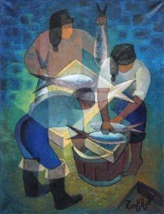 Louis TOFFOLI (1907-1999) Pêcheurs à Nazaré 1966 Huile sur toile Signé en  ~Repinned Via maha attalla