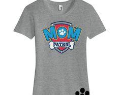 Custom PAW PATROL MOM Birthday Ladies T Shirt Mom Patrol Paw Inspired Number