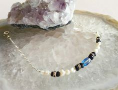 Sapphire and Freshwater Pearl Sterling Silver Bracelet with Kyanite