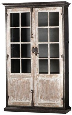 A two door industrial style cabinet bookcase with a vintage iron finish on steel. Eclectic Furniture, Iron Furniture, Bespoke Furniture, Luxury Furniture, Furniture Design, Furniture Storage, White Washed Furniture, Martin Furniture, Trendy Home Decor