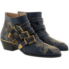 Chloé Boots & Booties - Susanna Leather Ankle Boots Cosmic Blue+Gold -... ($950) ❤ liked on Polyvore featuring shoes, boots, ankle booties, ankle boots, blue, leather bootie, leather boots, buckle ankle boots, pointed-toe ankle boots and leather booties