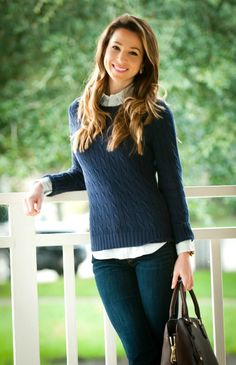 Classic Ralph Lauren oxford-cable knit combo