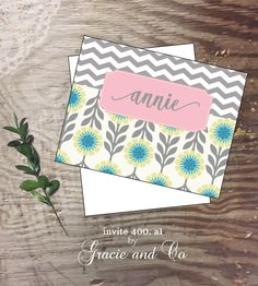 Personalized custom stationery aqua yellow grey  notecards monogram note cards Personalized notes   Wedding cards bridal by gracieandco on Etsy