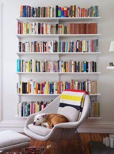 Kanter's (Manhattan Nest) living room bookshelves (and Mekko!)Daniel Kanter's (Manhattan Nest) living room bookshelves (and Mekko! Cool Bookshelves, Bookshelf Design, Bookshelf Decorating, Bookshelf Ideas, Decorating Ideas, Book Shelves, Bookcases, Wall Shelves, Living Room Bookshelves