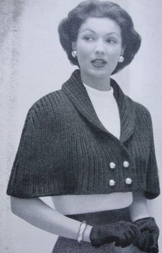 Lovely Cape Stole Wrap Vintage Knitting Pattern for Classy Shawl Collar Front Button Capelet Baby Knitting Patterns, Capelet Knitting Pattern, Free Knitting, Knitting Needles, Hat Patterns, Knitting Ideas, Crochet Patterns, Knitted Cape, Knitted Shawls