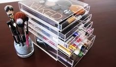 Makeup storage---I do like the clear drawers, but with the amount of products I would need, I would need a smaller set of drawers