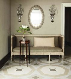 Will use this pattern or one similar on my floor...lots of other great painted floor inspirations at this site