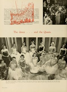 "Athena Yearbook, 1952. ""The dance ... and the Queen."" Homecoming Queen candidates pose in their dresses. :: Ohio University Archives"