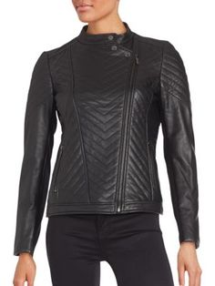 BADGLEY MISCHKA Hayden Leather Moto Jacket. #badgleymischka #cloth #jacket