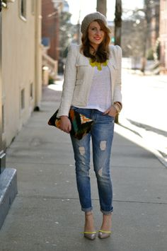 Ladylike Blazer and Boyfriend Jeans | via Style Within Reach