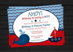 Ahoy Its A Boy Baby Shower Invitations Templates