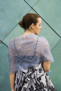 Ravelry: Seascape Stole pattern by Kieran Foley, free pattern knit with two skeins of Rowan Kidsilk haze