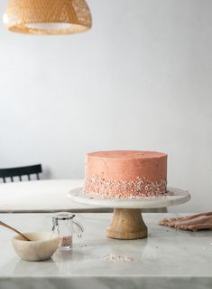 Fluffy corn cake with guava frosting