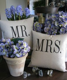 Mr. and Mrs. Pillows by heididevlin, via Washington Post. $52 #Pillows #heididevlin