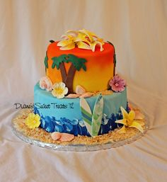 Hawaiian Themed Birthday Cake