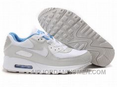 official photos 2580d cb869 Nike Air Max 90 Womens Grey White Blue For Sale QWJ8T