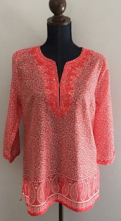 Rose & Thyme Women's Embroidered Tunic Split V-neck 3/4 Sleeve Coral/White Sz. L #RoseThyme #Tunic #Casual