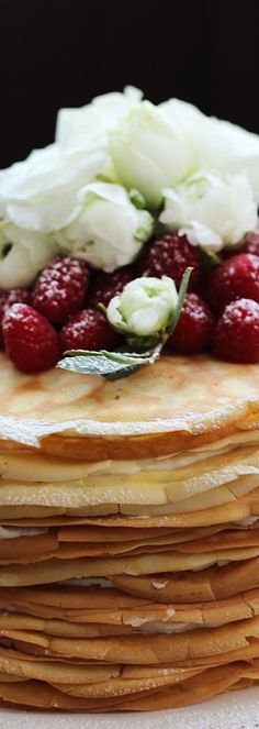 Crepe Cake Topped With Berries