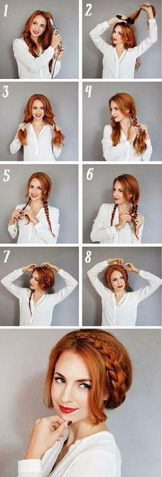 flechtfrisuren selber machen dame mit weißer bluse und roten haaren
