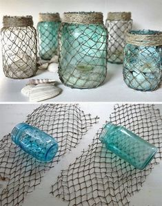 Unbelievable Decorative Fisherman Netting Wrapped Jars | Click Pic for 25 DIY Home Decor Ideas on a Budget | DIY Home Decorating on a Budget  The post  Decorative Fisherman Netting Wrapped Jars | Cl ..