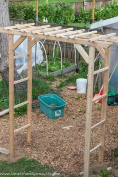 How to Build a Garden Arbor - YTC Spring 2018 - Simple Family ~ Crazy Life How to build a garden arbor in a day - Yard Transformation Challenge Spring 2018 Metal Arbor, Wooden Arbor, Wooden Garden, Slate Garden, Wooden Decks, Building A Pergola, Pergola Plans, Diy Pergola, Pergola Ideas