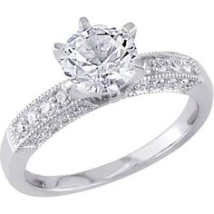 Miabella 1-3/8 Carat T.G.W. Created White Sapphire and 1/4 Carat T.W. Diamond 10kt White Gold Engagement Ring - Walmart.com
