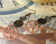 Steampunk Cog Earrings Gears  for peirced by InspiredbySteamPunk