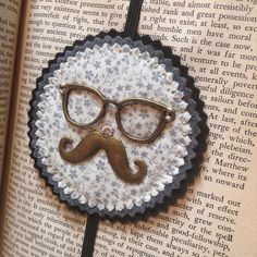 Mustache bookmark on Etsy, $12.00
