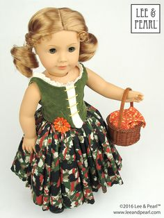 """Perfect for any fairy tale heroine — our American Girl doll is wearing a """"Peasant Style"""" version of our Pattern #1072: Corps de Ballet Fitted Bodice and Romantic Tutu for 18"""" Dolls with a faux-laced bodice and chiffon-topped skirt. Get this pattern — and directions for the adaptation — in our Etsy store at https://www.etsy.com/listing/271513319/lp-1072-corps-de-ballet-fitted-bodice"""