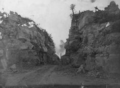 Photo: sometime between 1907-1919, Oak Cliff, Dallas, Texas. Today, the IH-30 Westbound exit ramp to Hampton Rd South, goes between this. See the smoke stack in the background? Previous to ramp, it was the Lone Star Cement quarry haul road. I've also heard this hill was called Indebtedness Hill at one time. I'm not sure how it got that name.