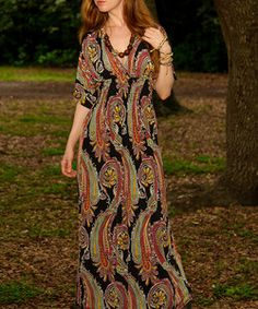 Cristina Love Black & Red Paisley Shirred Maxi Dress | Something special every day