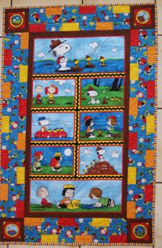 Snoopy Charlie Brown Linus & Gang Camp Peanuts Pieced Quilt Handmade