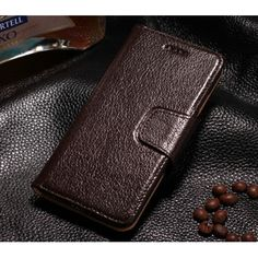 Luxury Head Layer Genuine Cowhide Leather Wallet Case for iPhone 6 Plus/6S Plus 5.5inch - Coffee