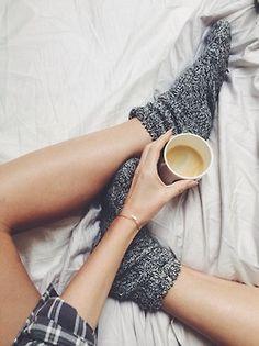 cozy socks, comfy clothes,  hot tea