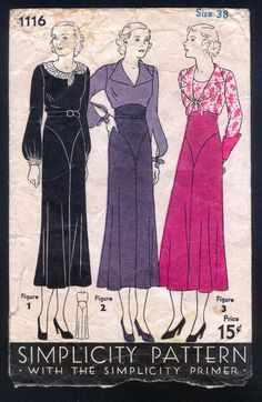 Simplicity 1116 | 1930s Ladies' Dress In Three Style Options