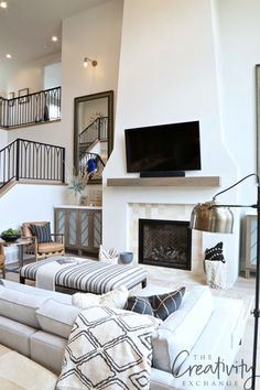 Living room wall color is Sherwin Williams Egret White - 2019 Utah Parade of Homes - Allison Campbell Design Living Room With Fireplace, Home Living Room, Living Room Furniture, Living Room Decor, Fireplace Wall, Fireplace Ideas, Furniture Decor, Modern Furniture, Formal Living Rooms