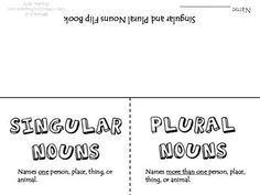 A quick activity for students to practice identifying singular and plural nouns.Enjoy this freebie and don't forget to leave a comment! 2nd Grade Ela, 2nd Grade Classroom, Second Grade, Co Teaching, Teaching Writing, Teaching Ideas, Singular And Plural Nouns, Nouns And Verbs, Speech And Language