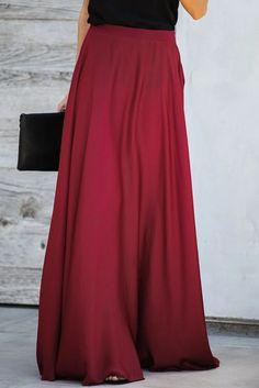 Burgundy Duchess Satin Flowy Maxi Skirt, Shop for cheap Burgundy Duchess Satin Flowy Maxi Skirt online? Buy at Modeshe.com on sale!