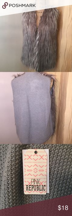 NWT Fake fur Vest Grey Size L NWT Fake fur Vest Grey Size L oh so cute dress up or down cute worn so many ways Pink Republic Jackets & Coats Vests