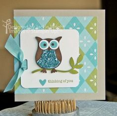 SU! owl punch card - owl (love the glittered tummy)