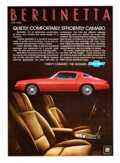 it Cars — Classic Car Ads: Chevrolet Camaro Berlinetta. Chevrolet Camaro, 1980 Camaro, Chevy Classic, Classic Cars, Classic Auto, Vintage Advertisements, Vintage Ads, Vintage Signs, Ad Car