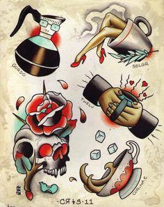 OMG the Milo coffoo pot is freakin awesome..Coffee & Tea Tattoo Flash Clandestine Rabbit shop in California