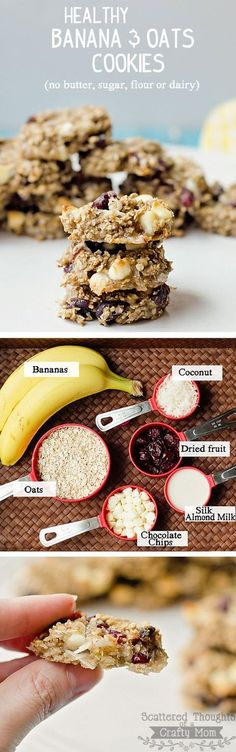 4 Cycle Fat Loss Japanese Diet Quick, easy, healthy and delicious recipe using Bananas, Oatmeal and Almond milk. Discover the World's First & Only Carb Cycling Diet That INSTANTLY Flips ON Your Body's Fat-Burning Switch Healthy Cookies, Healthy Baking, Healthy Desserts, Dessert Recipes, Diet Recipes, Healthy Milk, Healthy Sugar, Breakfast Healthy, Easy Recipes
