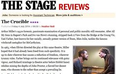 """THE STAGE REVIEW: """"Farber brings out its continued relevance with gutsy vigour, and Richard Armitage (a theatre actor before Hobbit fame) relishes mining the depths of John Proctor, a flawed but decent man, who chooses to die rather than accept a prevailing lie.""""  http://www.thestage.co.uk/reviews/review.php/40017/the-crucible-img"""