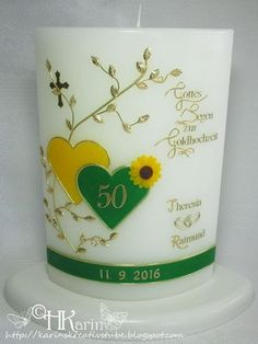 "Karins Kreativstube: Kerze Goldene Hochzeit ""Theresia & Raimund"" Sonnen... Candle Art, Planter Pots, Candles, 50th Wedding Anniversary, Sunflowers, Embellishments, Craft, Candy, Candle"