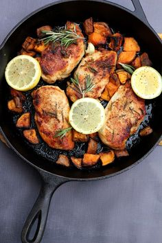 Lemon rosemary chicken.  A friend used to make something very similar, but he used fresh oregano.